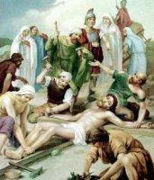 XI. állomás: Jézust a keresztre szegezik