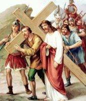 V. állomás: Cirenei Simon segít Jézusnak a keresztet hordozni